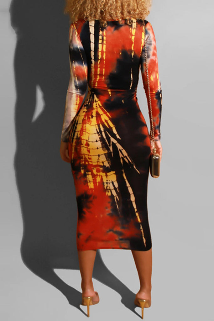 V-Neck Tie Dye Kontted Midi Dress