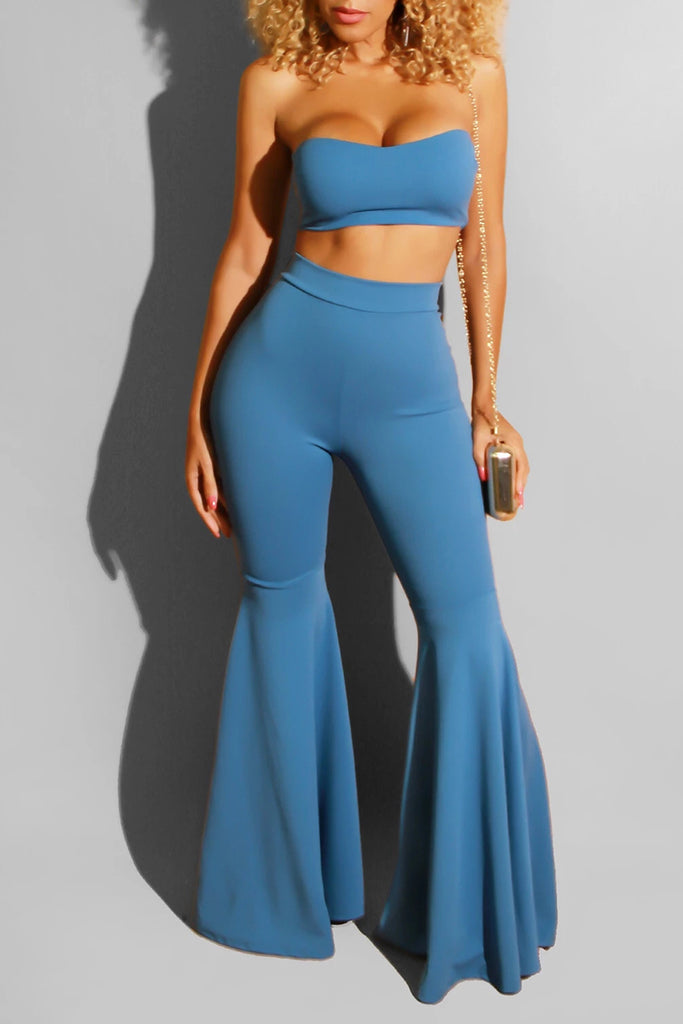 Strapless Bandage Solid Color Top & Flared Pants