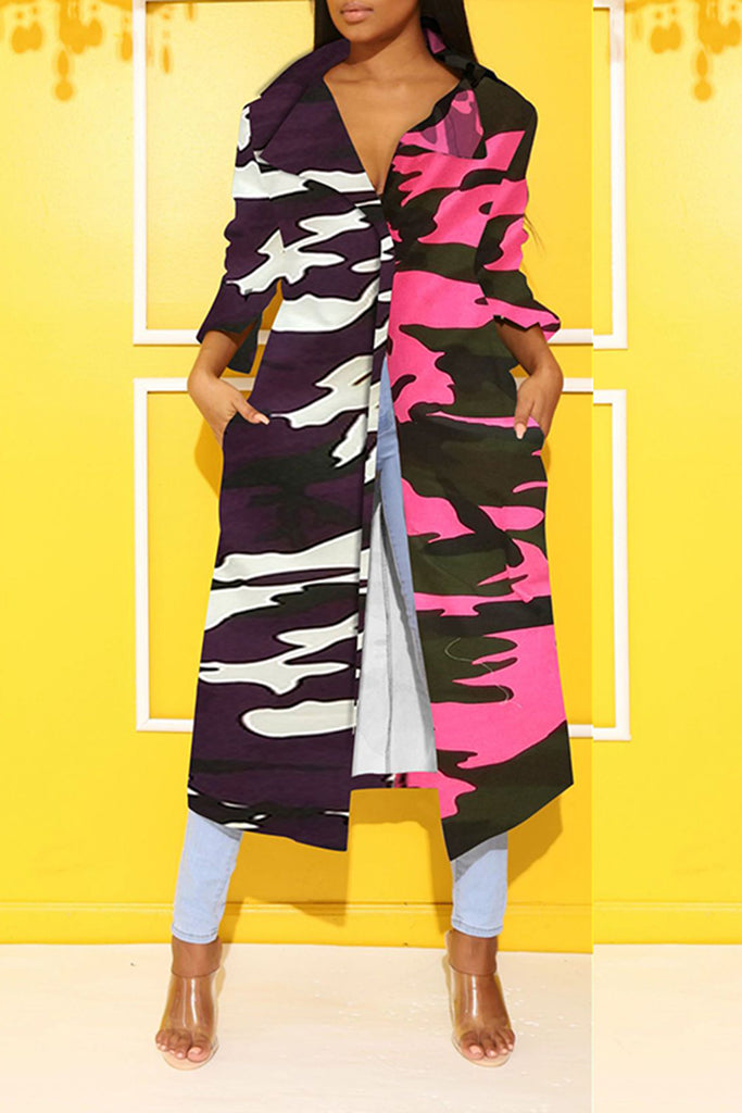 Colorful Camouflage Print Wide Lapel Coat