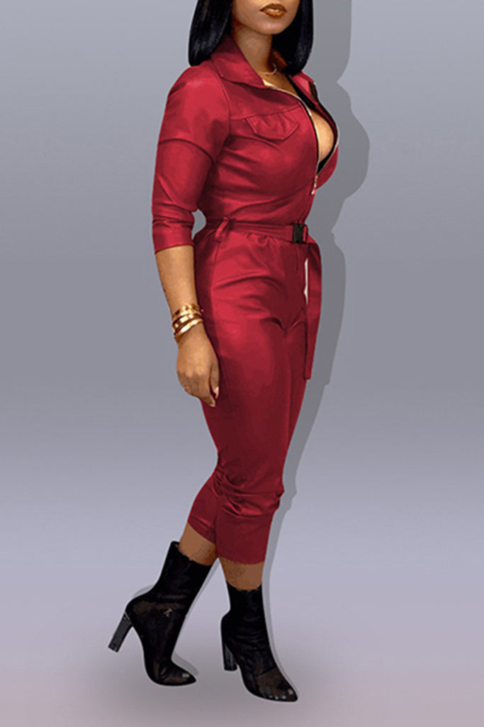 Plus Size Leather Turndown Collar PU Jumpsuit