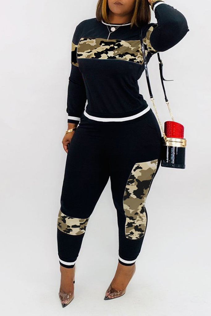 Camouflage Patchwork Long Sleeve Two Piece Sets