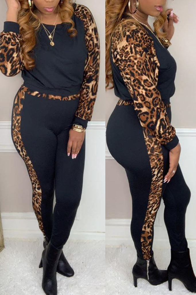 Leopard Print Splicing Two Piece Outfits