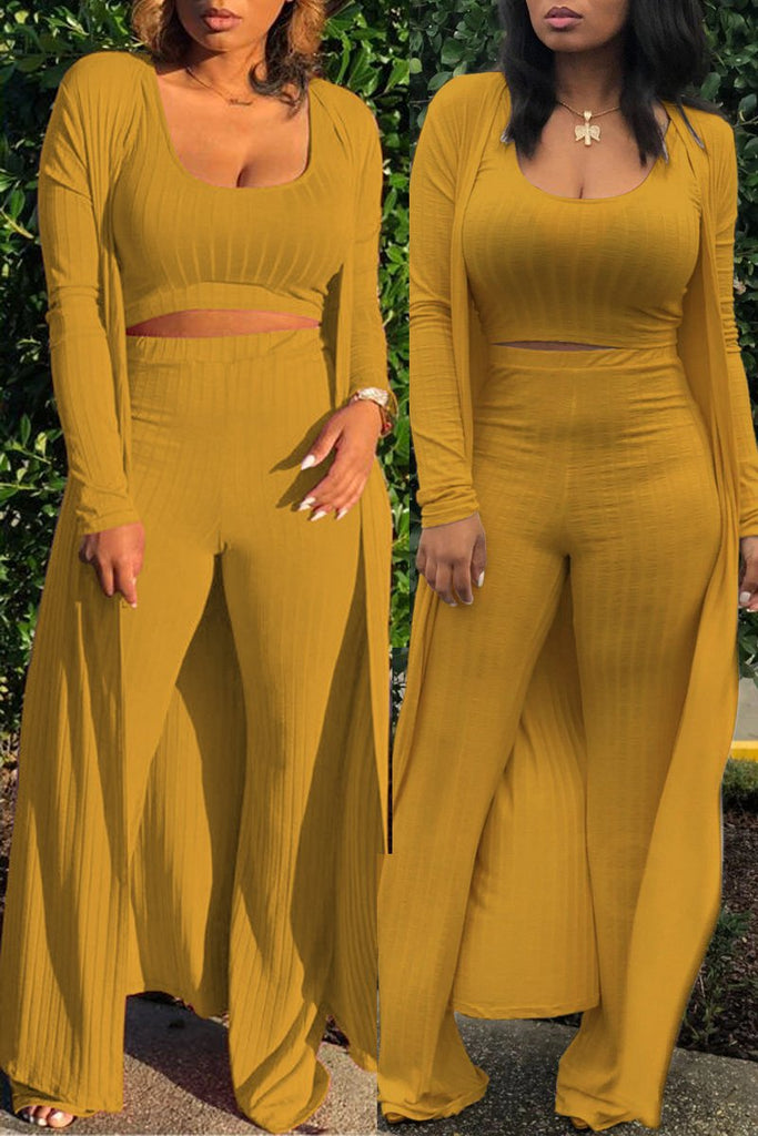 Scoop Neck High-stretch Solid Three Piece Outfits