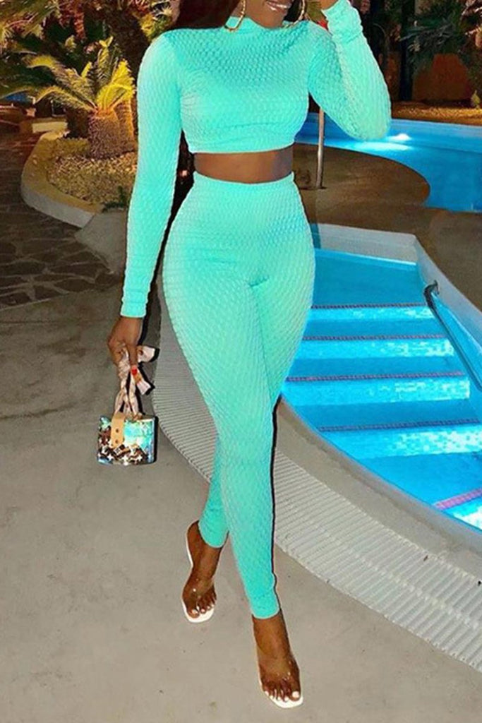 Solid Color Tight Round Neck Crop Top & Pants