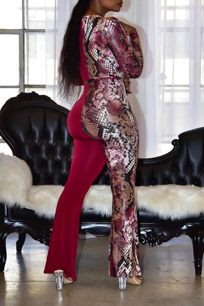 Plus Size Snake Print Deep V Neck Lace-up Jumpsuit