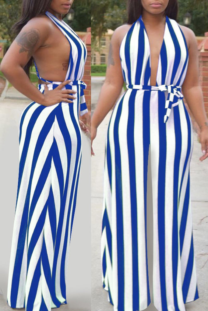 Stripe Print Lace-up One Shoulder Jumpsuit