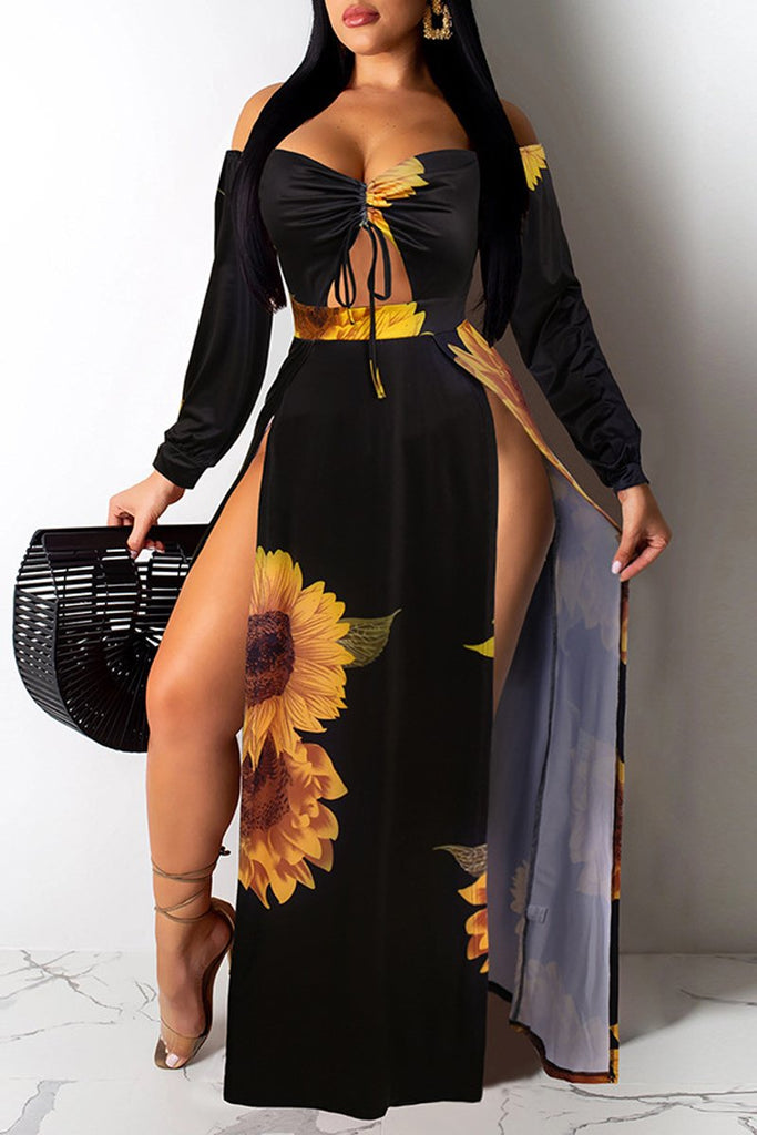 Off The Shoulder High Slit Tie Up Maxi Dress