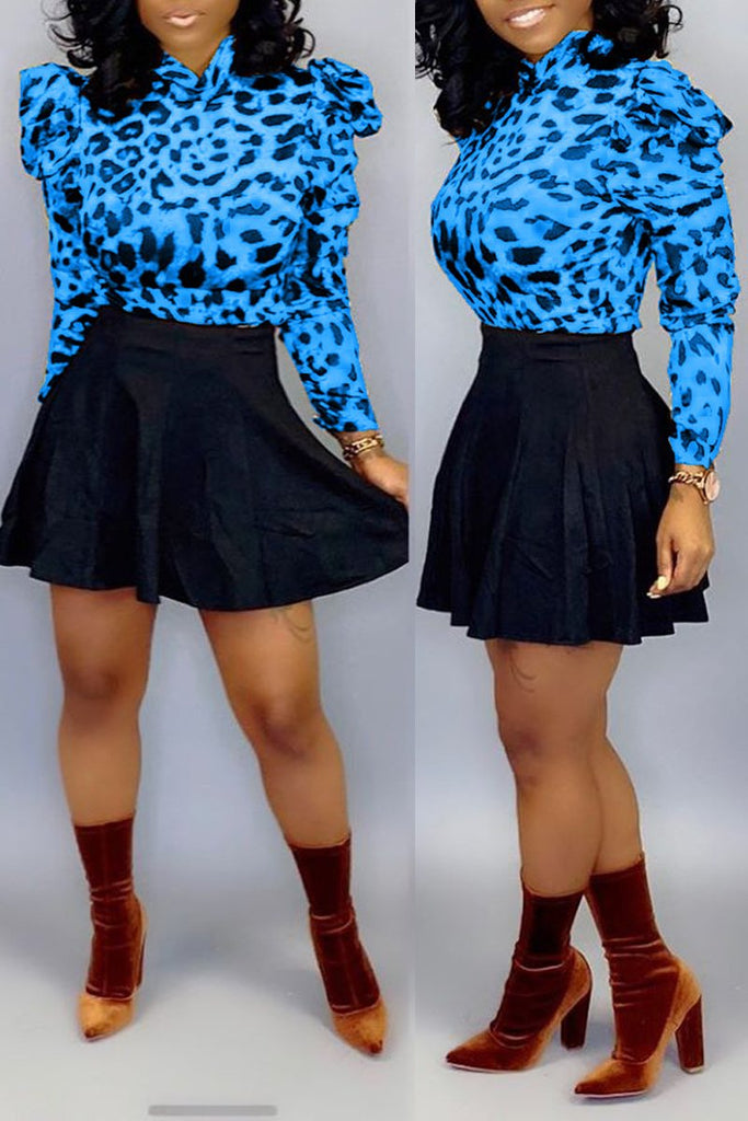 Leopard Print Ruffle Two Piece Mini Dress
