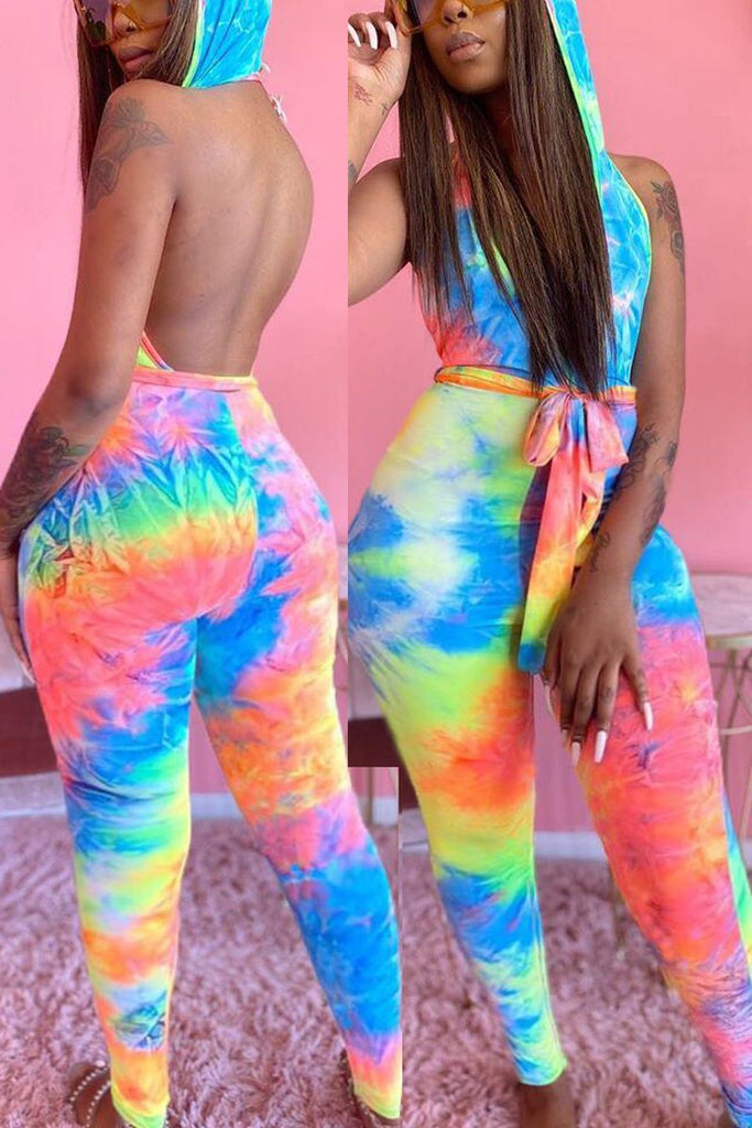 Tie Dye Hooded Collar Open Back Jumpsuit