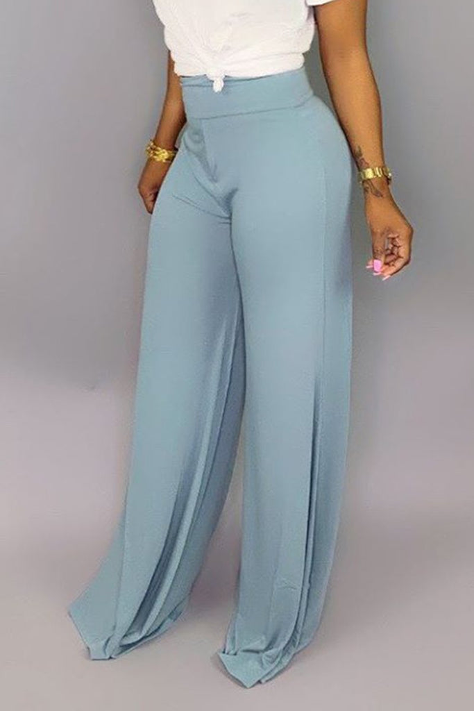 Solid Color Casual Wide Leg Pants
