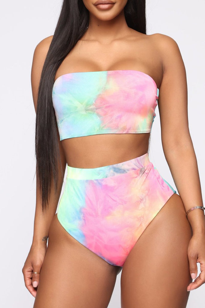 High Slit Tie Dye Three Piece Swimwear
