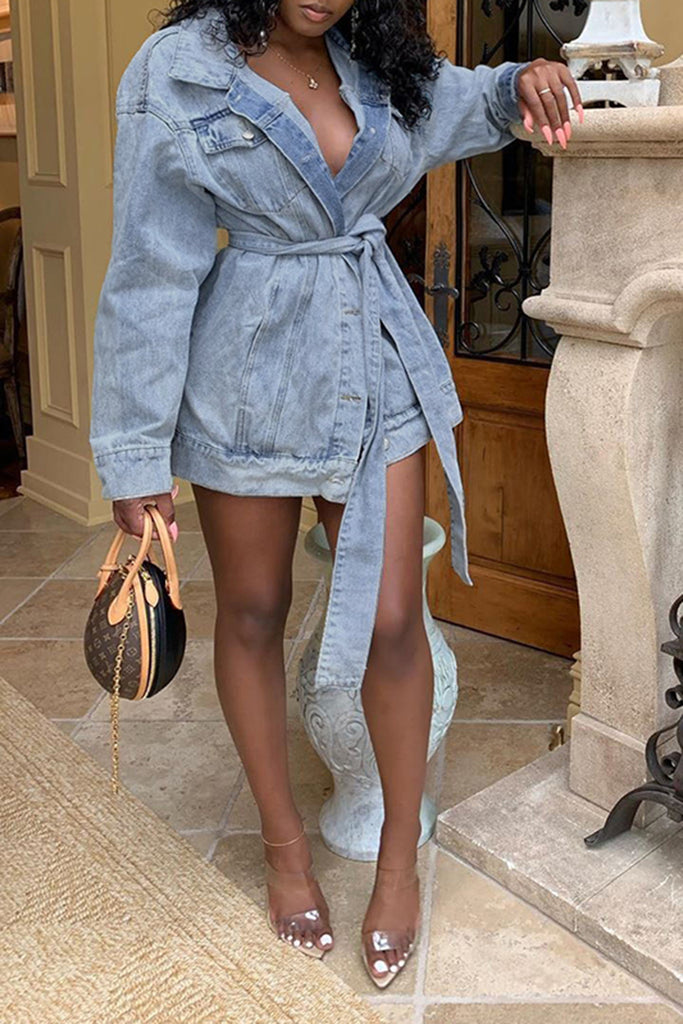 Denim Wide Lapel Button Up Coat With Belt