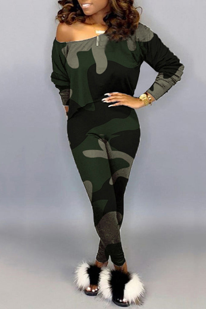 Skew Neck Camouflage Print Two Piece Sets