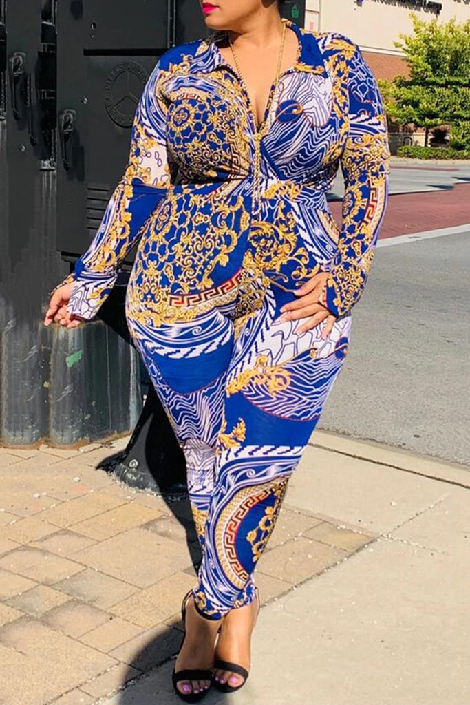Plus Size Knotted Digital Print Two Piece Outfits