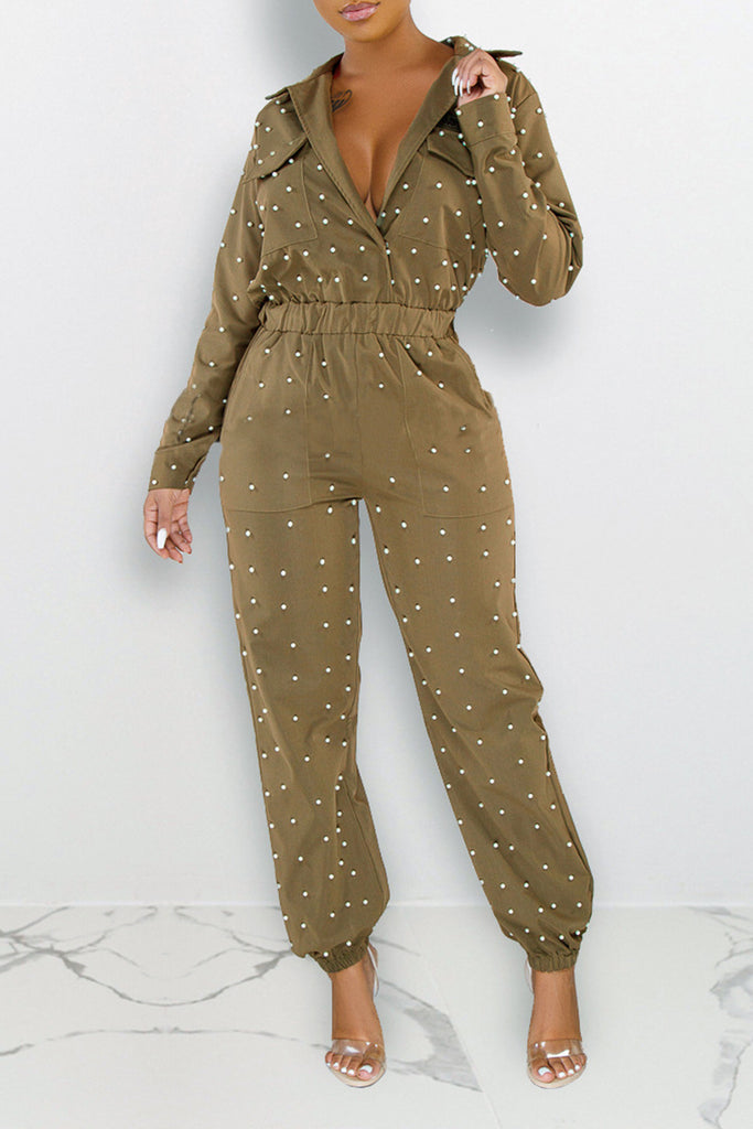 Pearl Hot Drilling Drawstring Waist Jumpsuit
