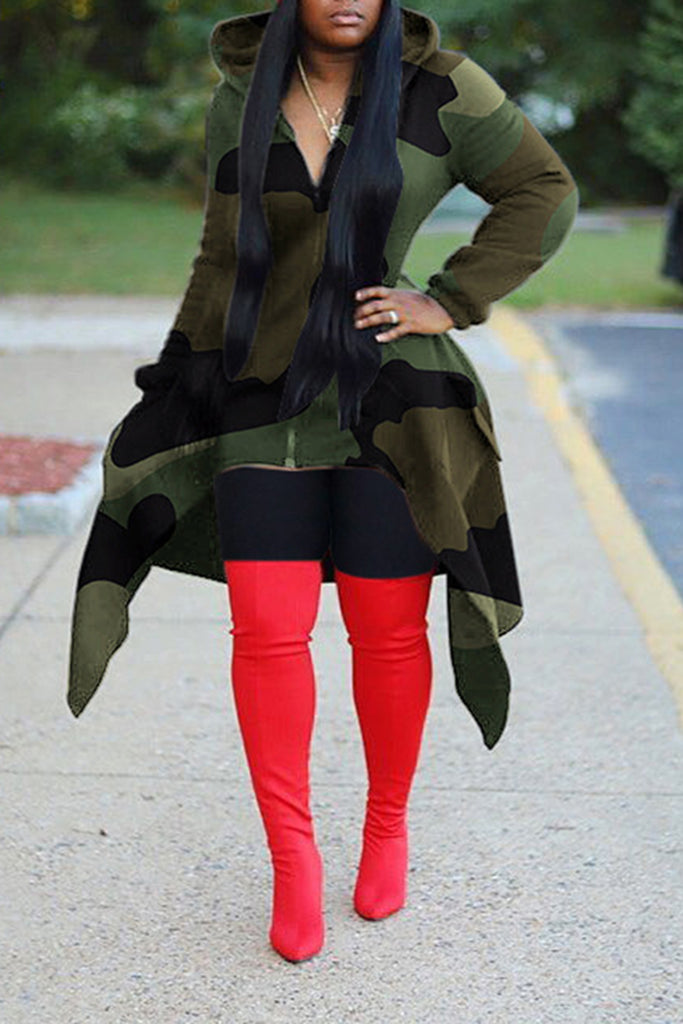Hooded Camouflage Print Irregular Hem Coat