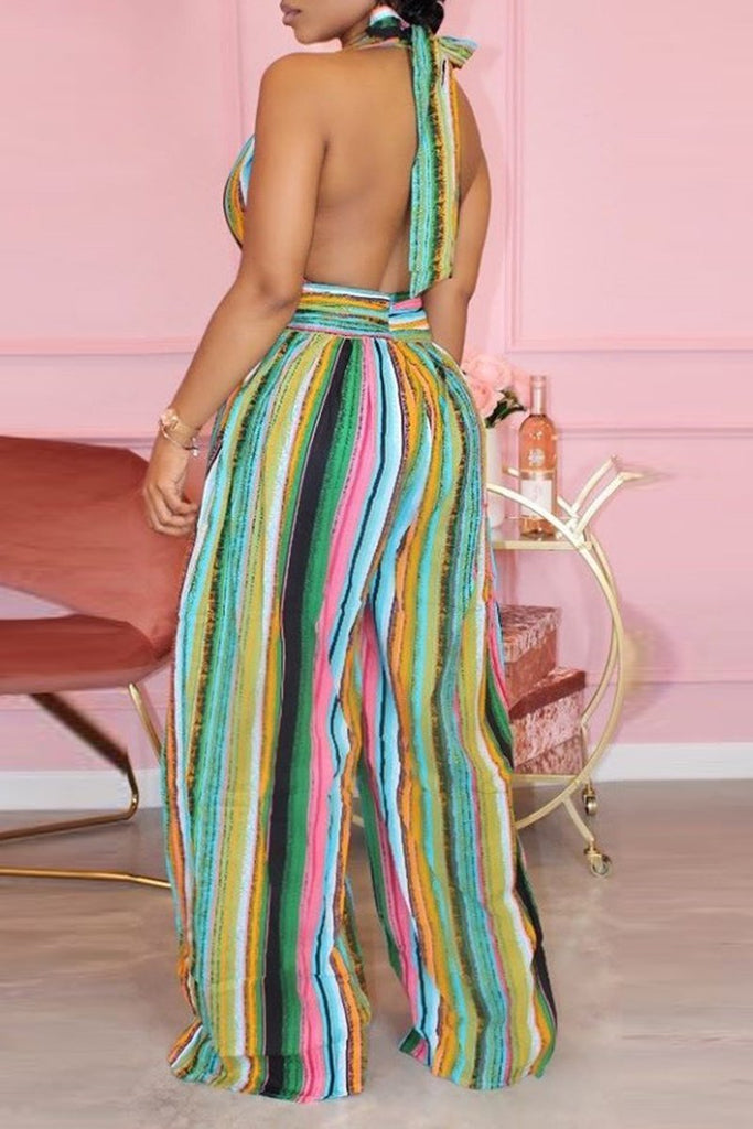 Rainbow Striped Halter Neck Jumpsuit