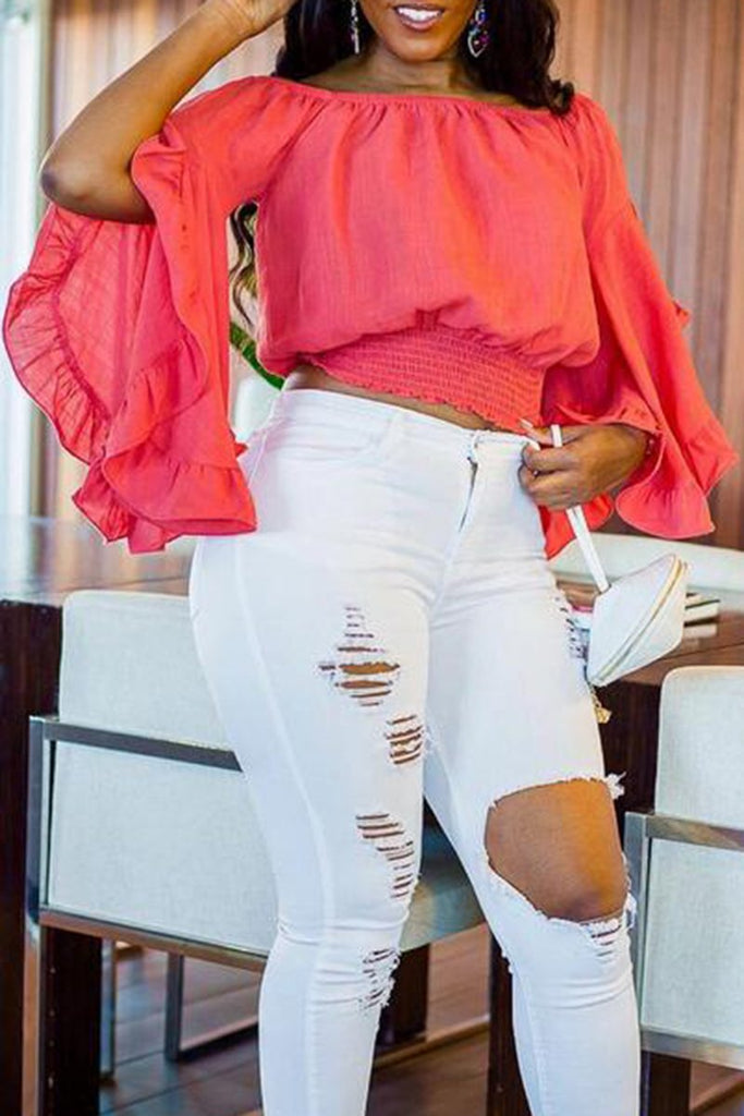 Off The Shoulder Flared Sleeve Blouse