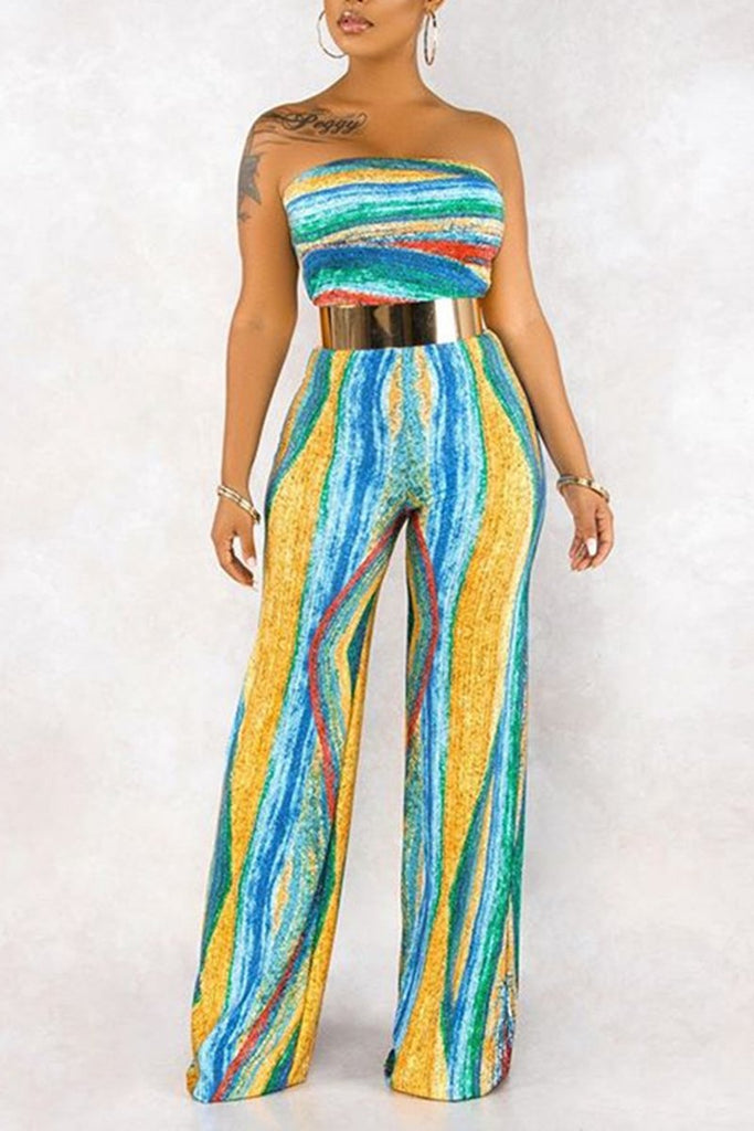 Rainbow Strapless Wide Leg Jumpsuit