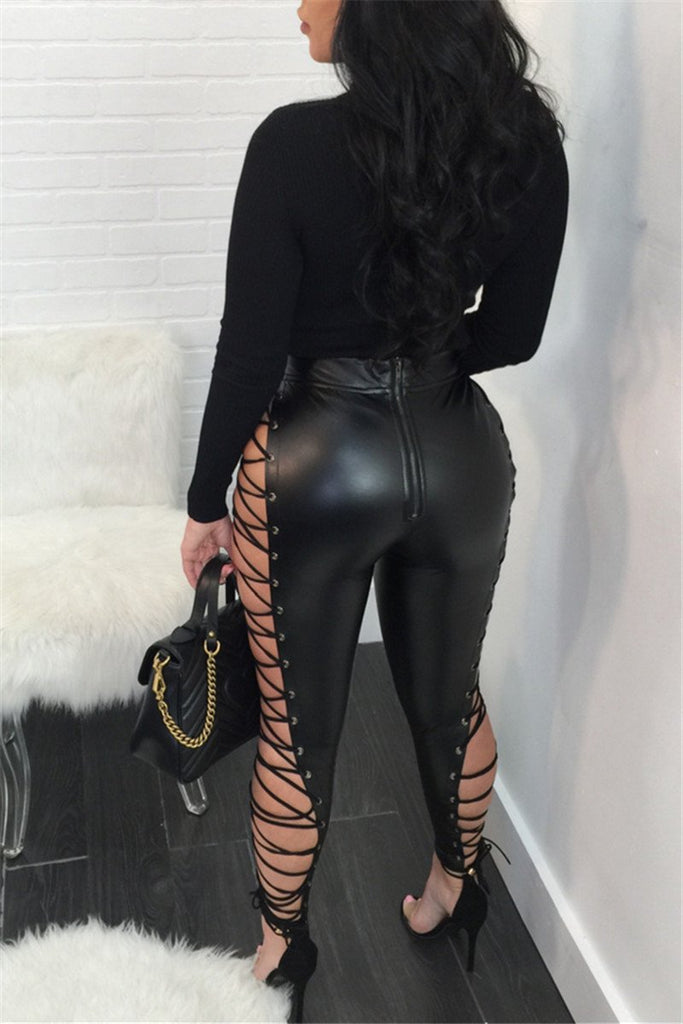 High Waist Lace Up PU Long Pants