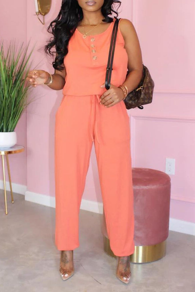 Drawstring Waist Scoop Neck Plus Size Jumpsuit