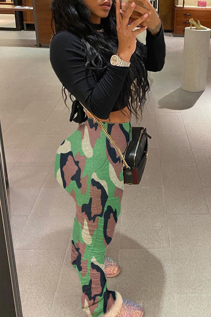 Camouflage Print Draped Plus Size Pants