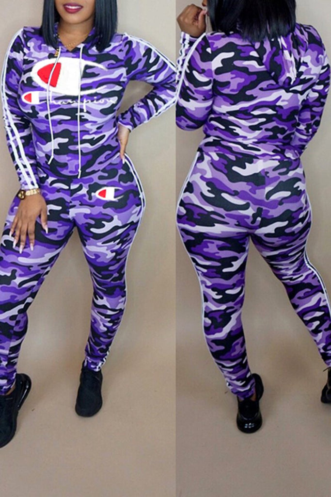 Camouflage Letter Print Side Striped Lace Up Casual Two Piece Outfits