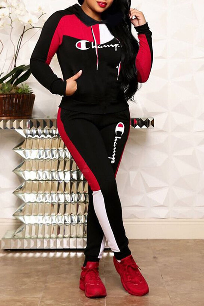 Embroidered Letter Color Block Striped Hooded Pocket Winter Two Piece Outfits