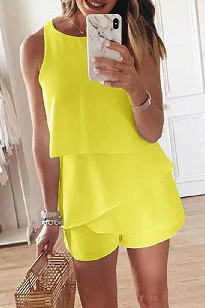 Ruffled Sleeveless Solid Color Romper