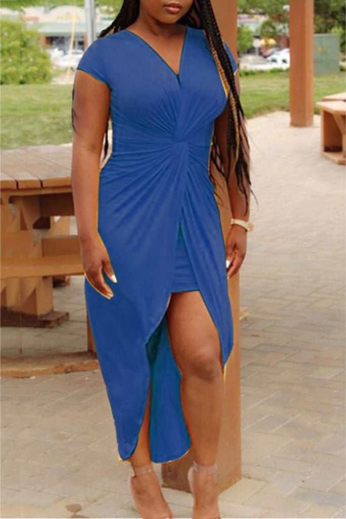 V-Neck Solid Color Bodycon Wrap Dress
