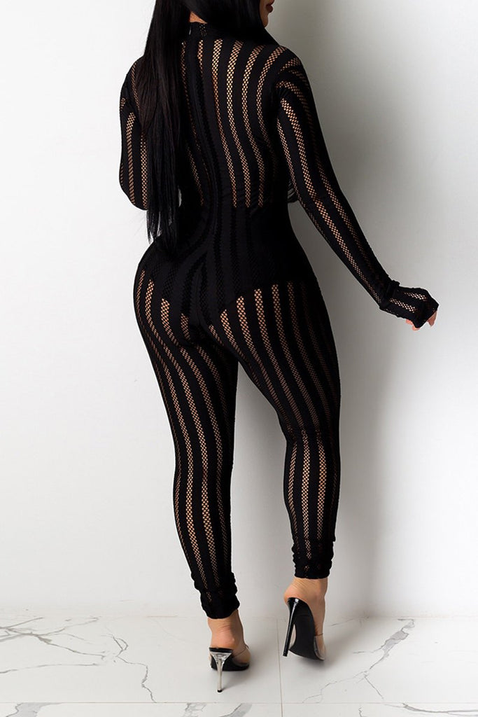 See-Through Net Yarn Striped Jumpsuit