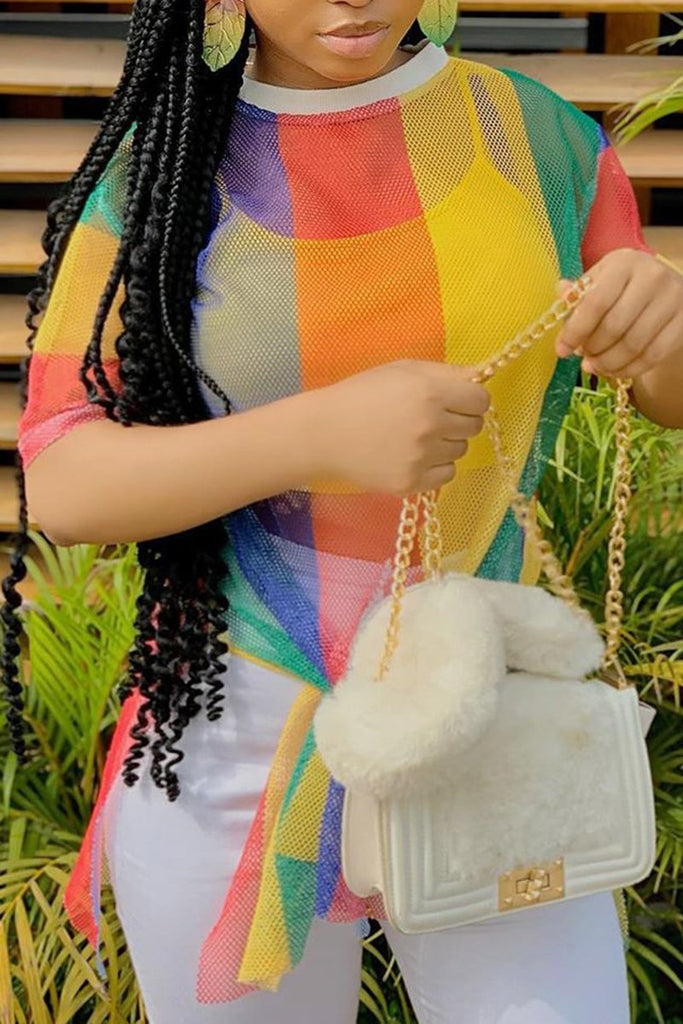 Rainbow Net Yarn Short Sleeve Top