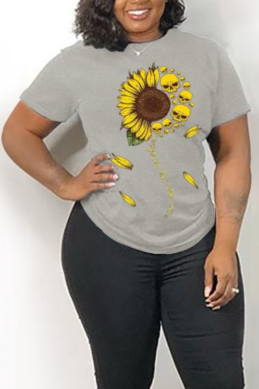 Sunflower Print Plus Size Cotton T Shirt