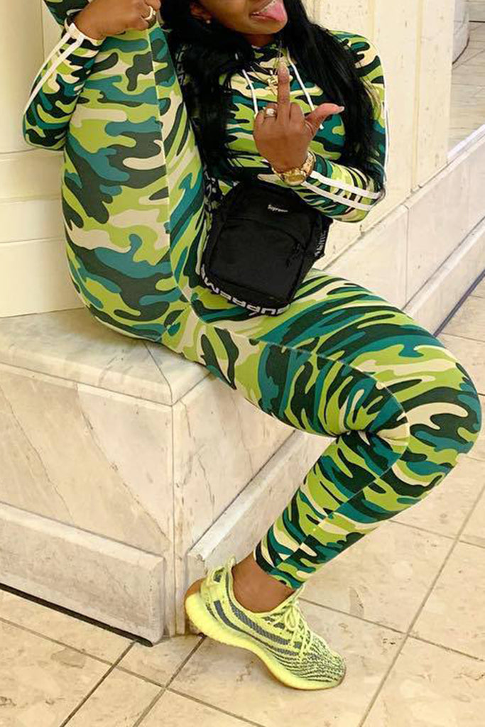 Camouflage Print Side Striped Two Piece Sets