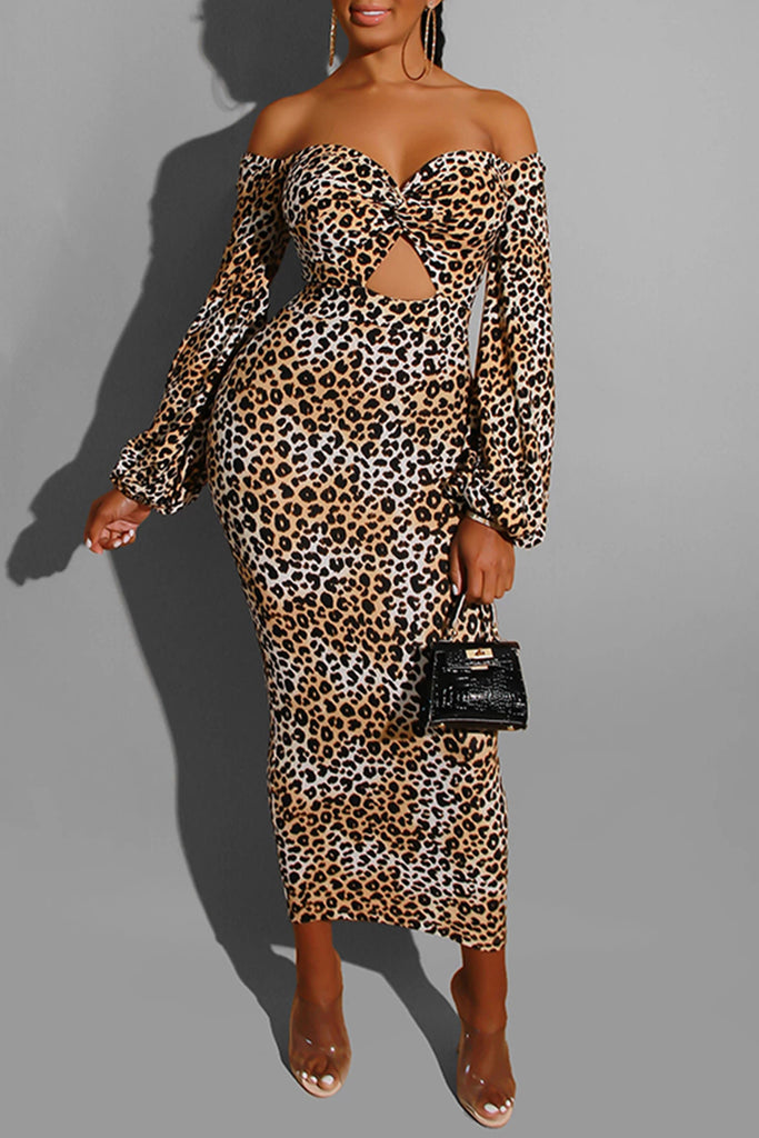 Lantern Sleeve Leopard Print Pierced Dress