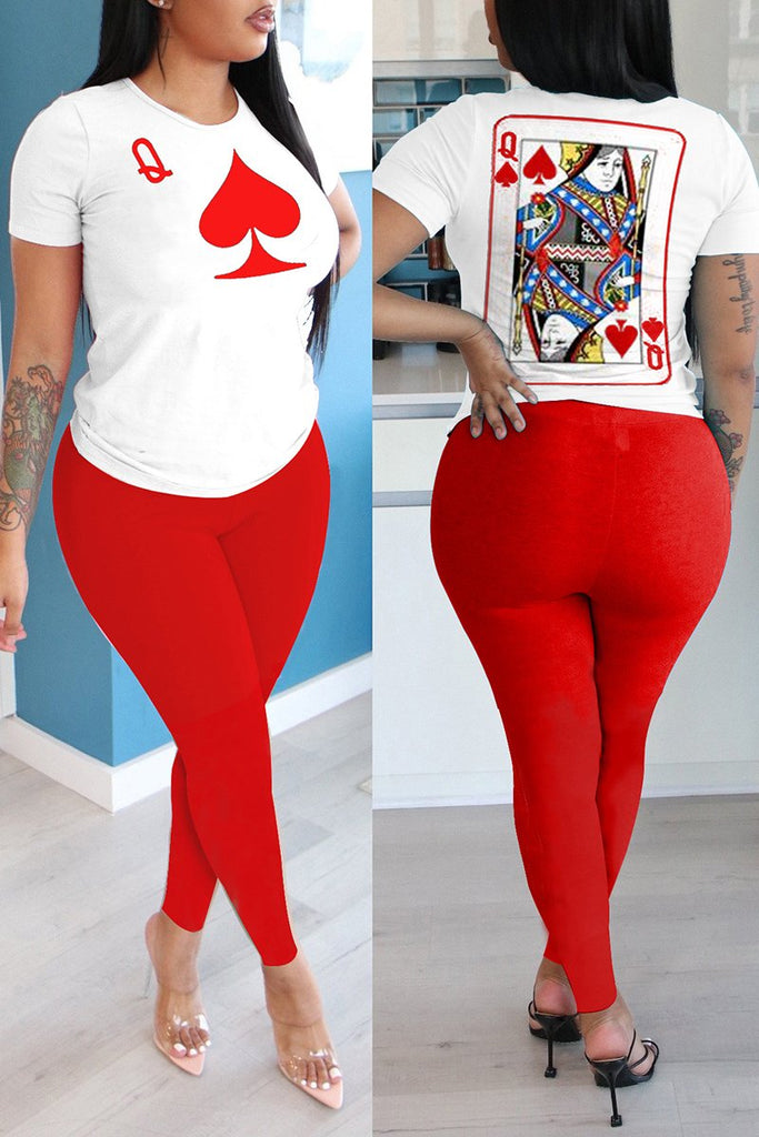 Plus Size Poker Print Patchwork Two Piece Sets