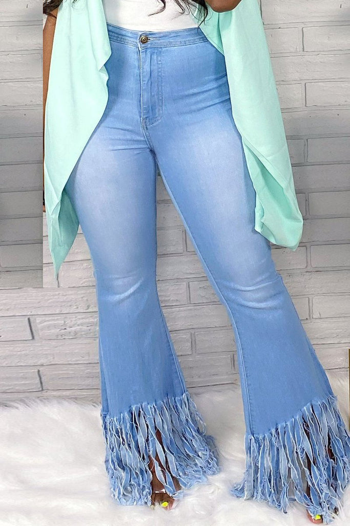 Denim Tassel Hem Middle Waist Flared Pants
