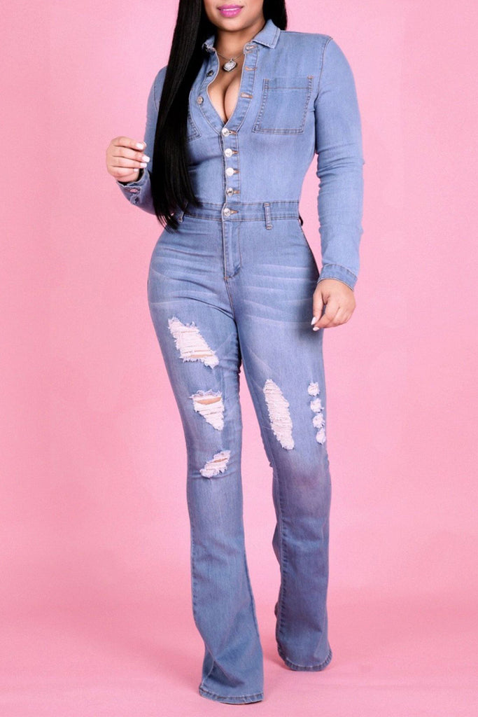 Plus Size Denim Button Up Worn Out Jumpsuit