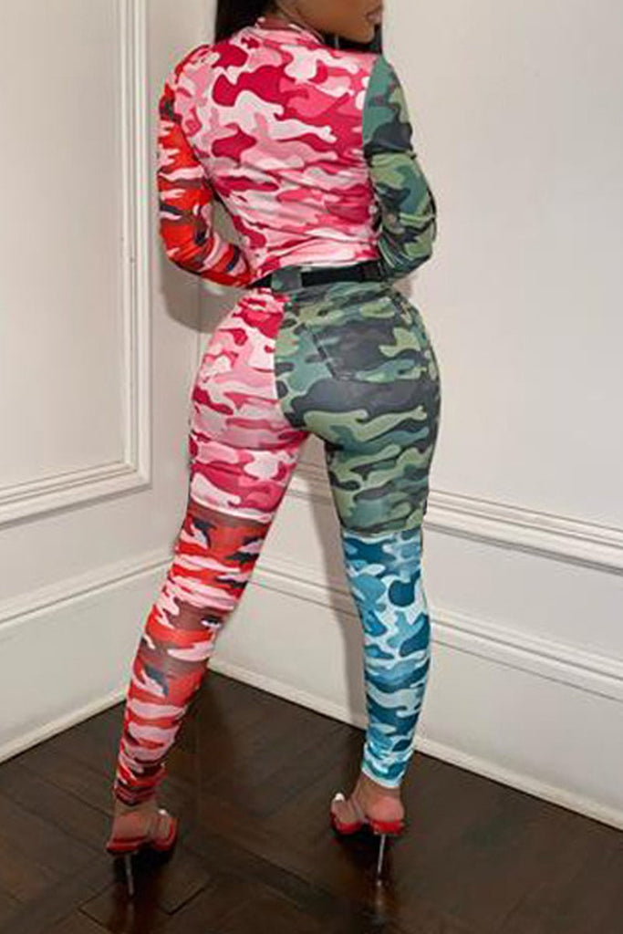 Round Neck Color Block Camouflage Printed Two Piece Outfits