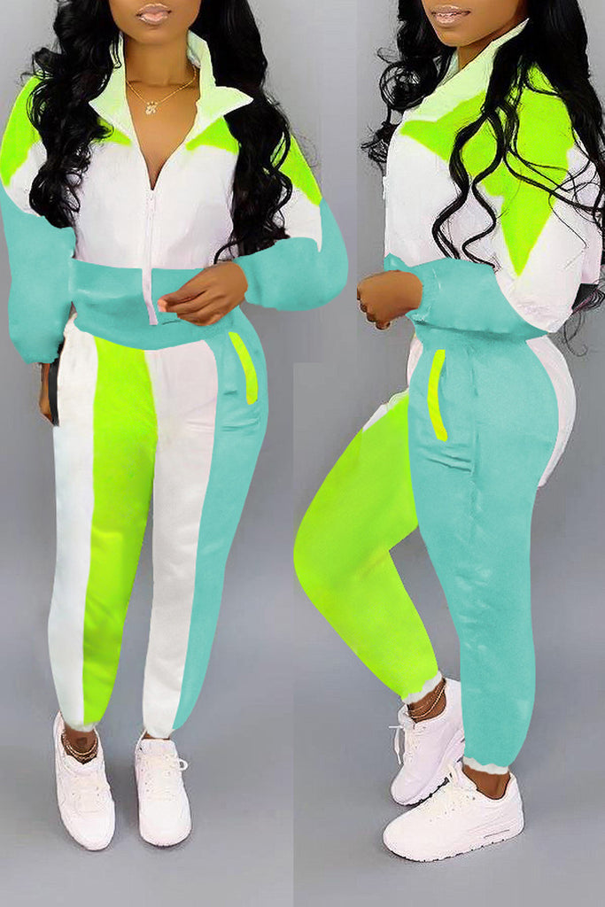 Color Block Zipper Turndown Collar Two Piece Sets