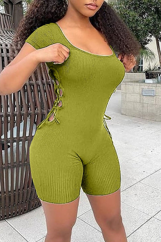 Scoop Neck Side Bandage Plus Size Romper