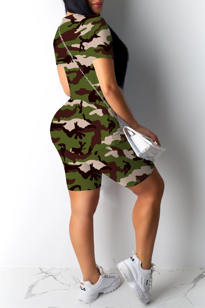 Gradient Print Camouflage Printed Top & Shorts