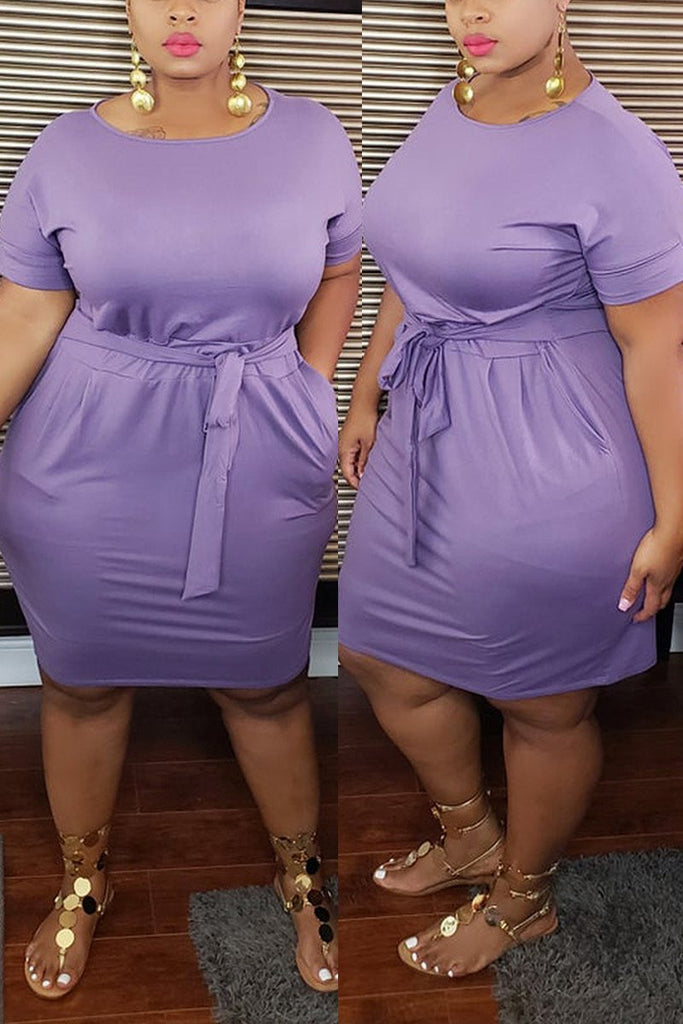 Plus Size Lace-up Pocket Package Hip Dress