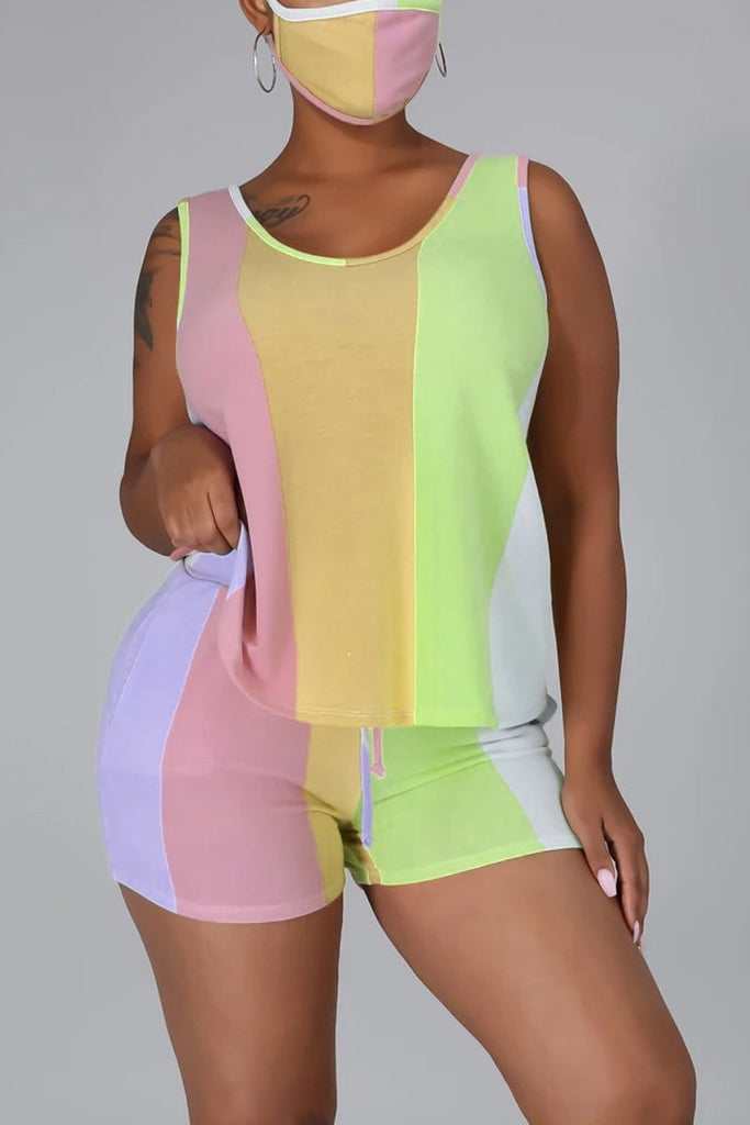 Rainbow Striped Drawstring Sleeveless Top & Shorts