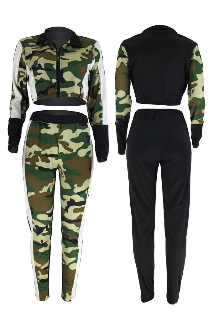 Camouflage Printed Patchwork Long Sleeve Two Piece Sets