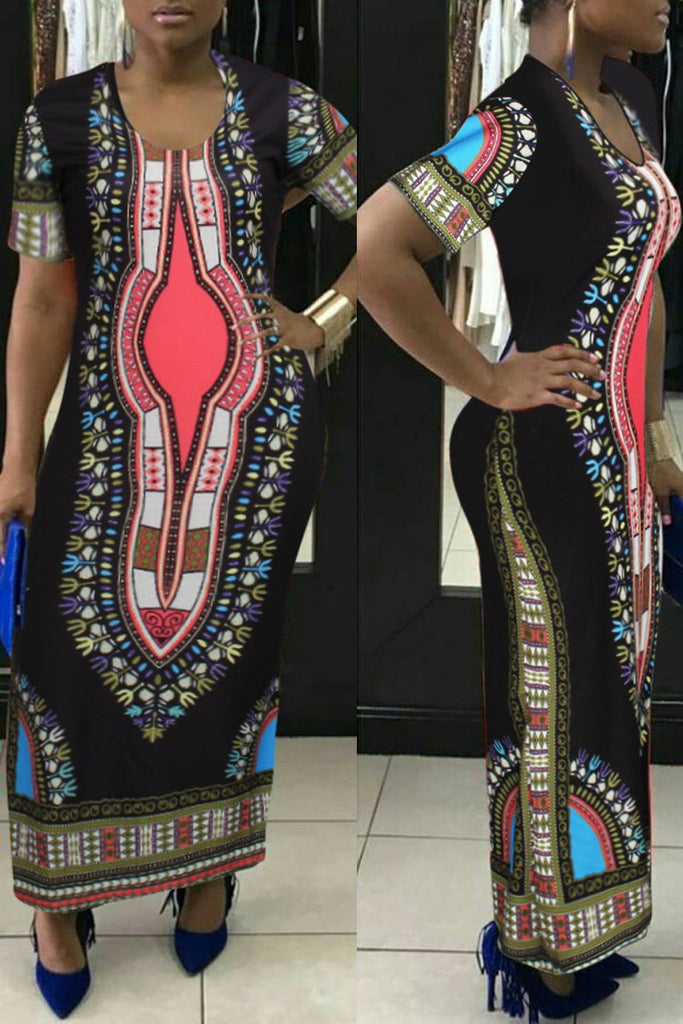 Dashiki Print Short Sleeve Round Neck Maxi Dress