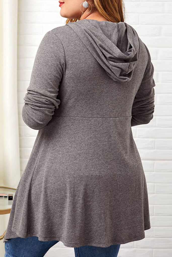 Hooded Collar Plus Size Asymmetric Hem Blouse
