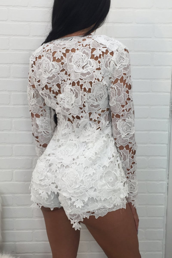 See-through Solid Lace Two Piece Outfits