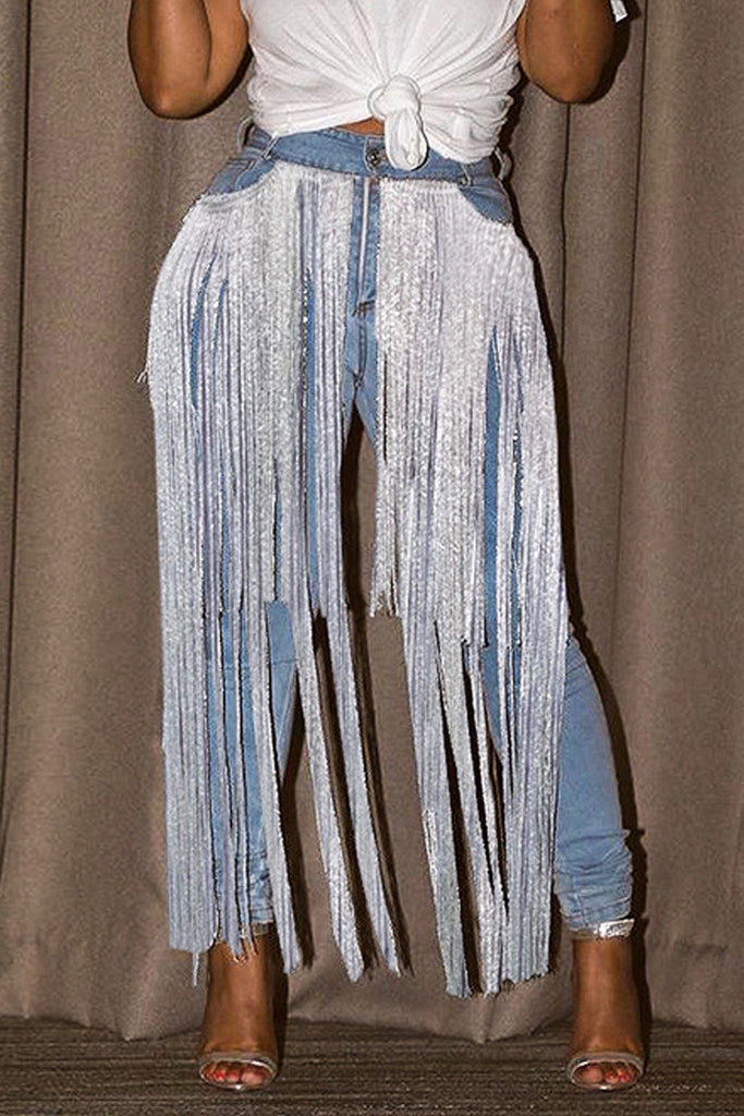 Tassel Hem Denim Blue Middle Waist Jeans