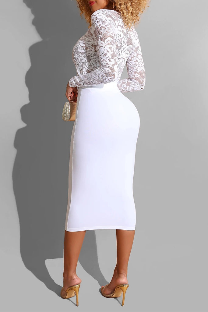 See-through Lace Bodycon Midi Dress
